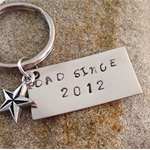 Hand stamped Personalised Name Keyring or bag tag with a charm or crystal